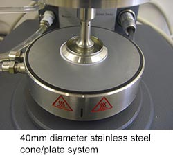 40mm diameter stainless steel cone/plate system